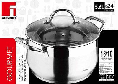 Bergner  RVS 18/10 kookpan 24cm - 5,6 liter *7TH*