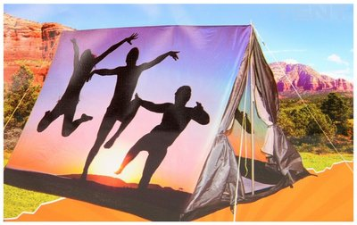 3 persoons tent met print - silhouet *7TH*