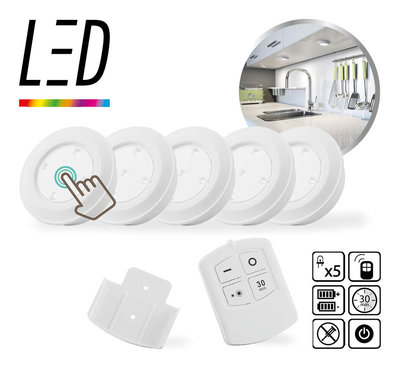 5-pack Led Light - Wireless with remote * Led Lovers - 8715342020426 *7TH*