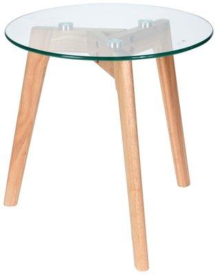Bijzettafel met glazen plaat - Ø40x40cm *6TH*