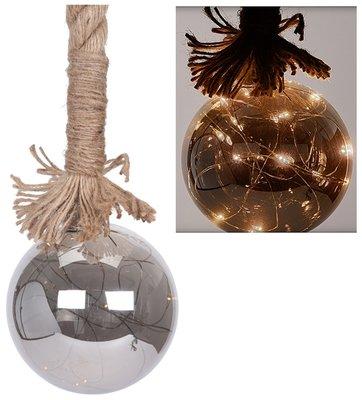 Glazen bal met 15 LED's - 10cm - met timer *6TH*
