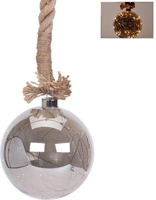 Glazen bal met 30 LED's - 15cm - jute touw 100cm *6TH*