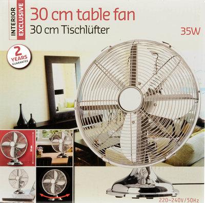 Interior Exclusive Roestvrijstalen tafelventilator 30cm *7TH*